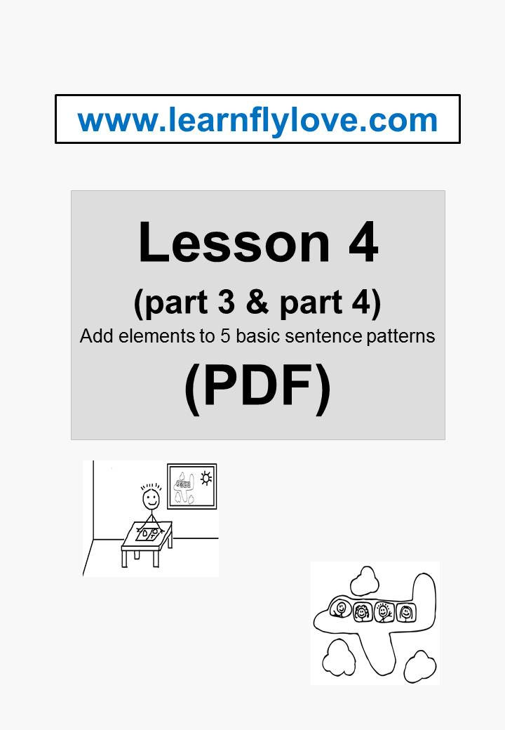 lesson 4 part 3 part 4 pdf add elements to 5 basic sentence patterns learn fly love. Black Bedroom Furniture Sets. Home Design Ideas